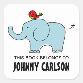 Elephant and Bird Bookplates Square Sticker