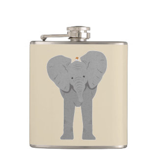 elephant and bird hip flask