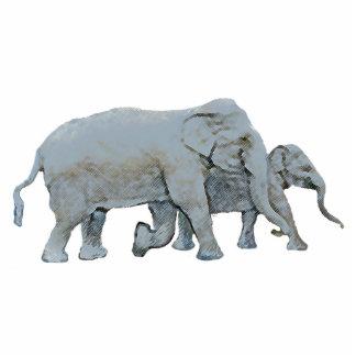 Elephant and Calf Photorealistic Original Graphic Photo Sculpture Magnet