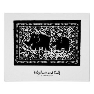 Elephant and Calf Poster
