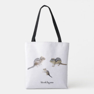 Elephant and Chipmunks Tote Bag