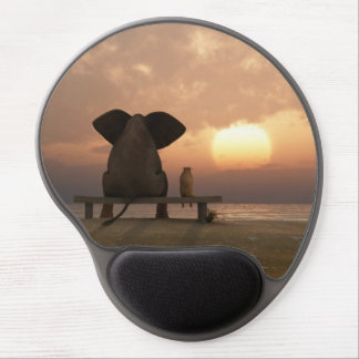 Elephant and Dog Friends Gel Mouse Pad