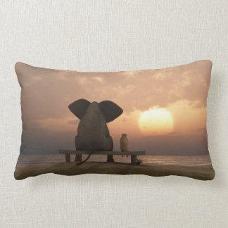 Elephant and Dog Friends Lumbar Pillow