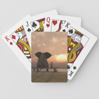 Elephant and Dog Friends Playing Cards