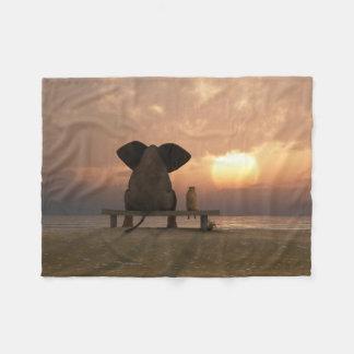 Elephant and Dog Friends Small Fleece Blanket