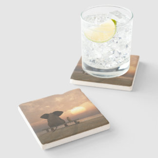 Elephant and Dog Friends Stone Coaster