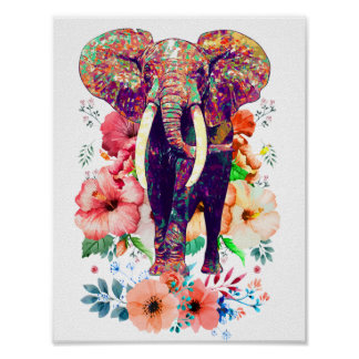 Elephant and Flower poster