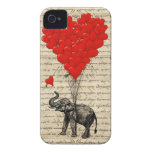 Elephant and heart shaped balloons iPhone 4 Case-Mate cases