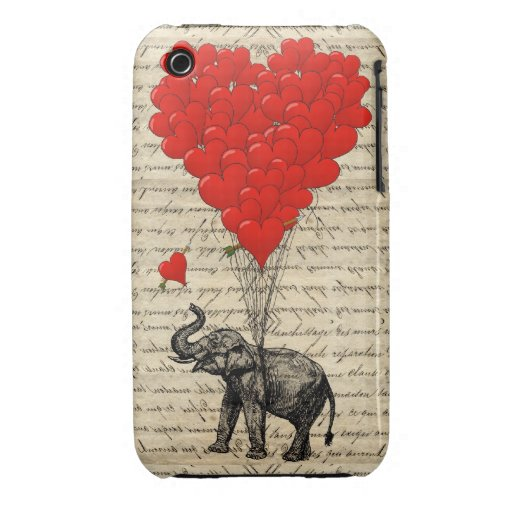 Elephant and heart shaped balloons iPhone 3 covers