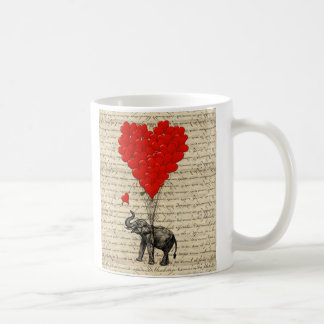 Elephant and heart shaped balloons coffee mug