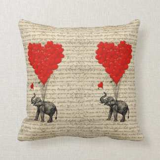 Elephant and heart shaped balloons cushion