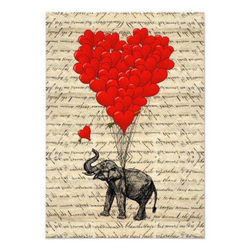 Elephant and heart shaped balloons invite