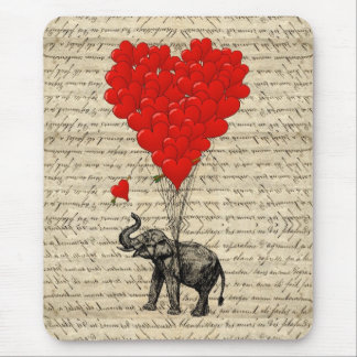 Elephant and heart shaped balloons mouse pads