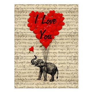 Elephant and heart shaped balloons postcard
