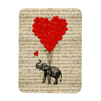 Elephant and heart shaped balloons rectangular photo magnet