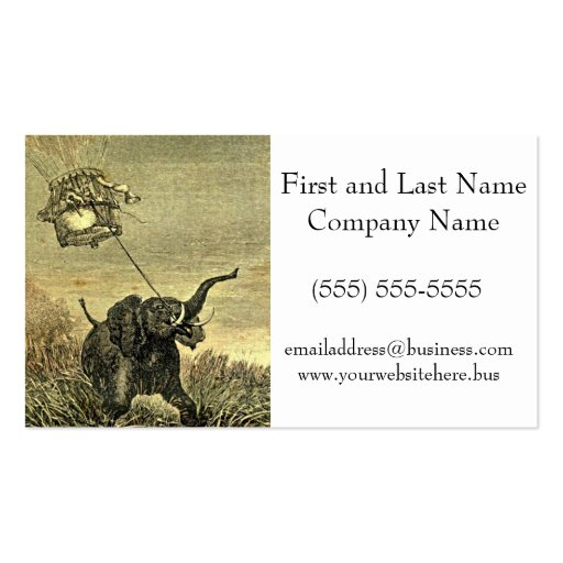 Elephant and Hot Air Balloon Illustration Business Card Template