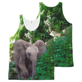 Elephant and Jungle All-Over Print Tank Top