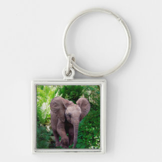 Elephant and Jungle Silver-Colored Square Key Ring
