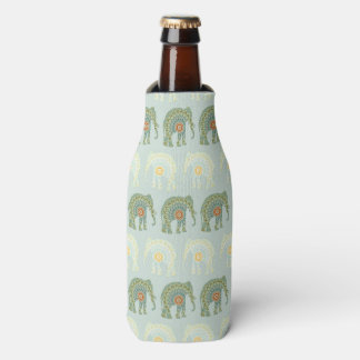 Elephant and Mandala Pattern in Light Green Bottle Cooler