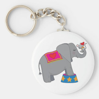 Elephant and Mouse Basic Round Button Key Ring