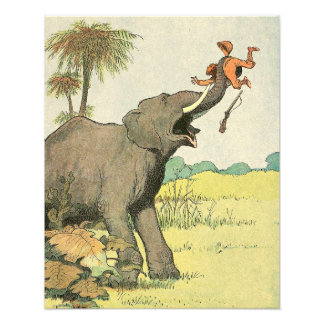 Elephant and Poacher in the Jungle Illustrated Art Photo
