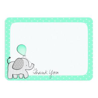 Elephant and Polka Dots Mint Green Thank you 11 Cm X 16 Cm Invitation Card