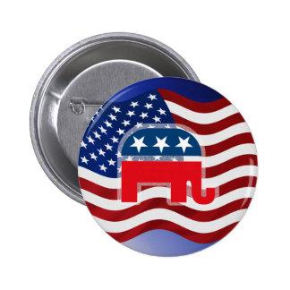 Elephant and USA Flag.tif 6 Cm Round Badge