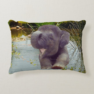 Elephant and Water Decorative Cushion