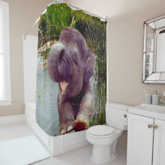 Elephant and Water Shower Curtain
