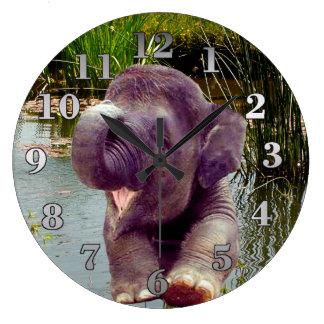 Elephant and Water Wallclock