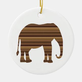 ELEPHANT animal wild pet Gold Stripe Brown NVN286 Round Ceramic Decoration
