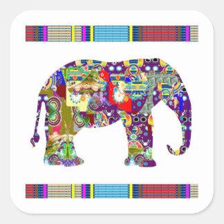 Elephant,animal,wild,sticker,template,deco,k Square Sticker