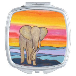 Elephant at Sunset in Africa (K. Turnbull Art) Mirror For Makeup