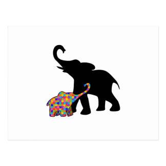Elephant Autism Awareness Support Postcard