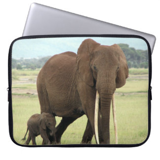 Elephant  Baby And Mother  Neoprene Laptop Sleeve