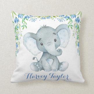 Elephant Baby Boy Nursery Pastel Blue Flowers Cushion