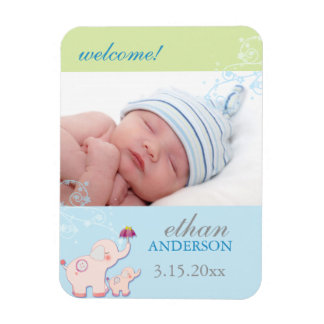 Elephant Baby Boy Photo Birth Announcement Magnets