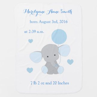 Elephant Baby Boy Stats Sky Blue Gray Chevron Baby Blanket