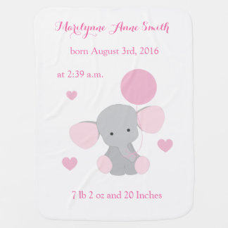Elephant Baby Girl Birth Stats Pink Gray Chevron Baby Blanket