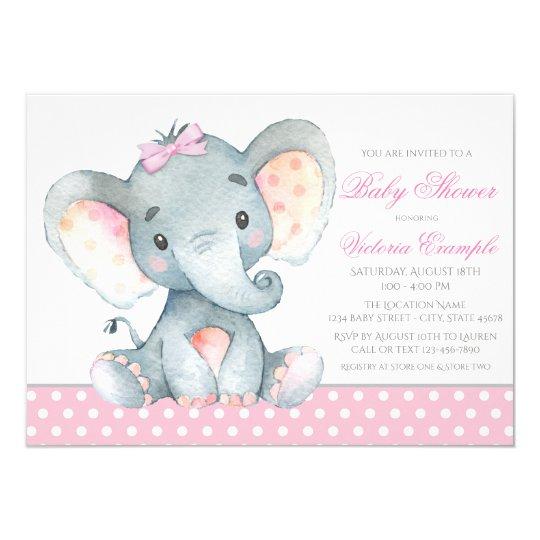 Elephant Baby Girl Shower Invitations Zazzle Com Au