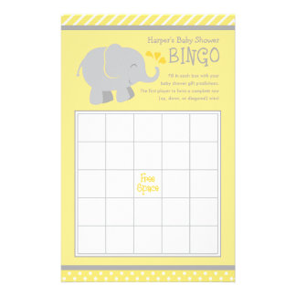 Elephant Baby Shower Bingo Cards | Yellow and Gray 14 Cm X 21.5 Cm Flyer