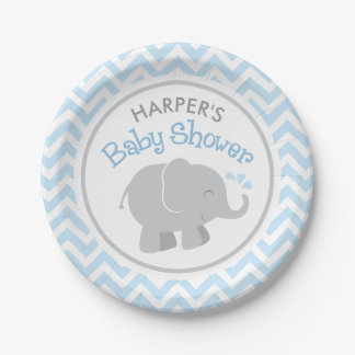 Elephant Baby Shower | Blue and Gray 7 Inch Paper Plate