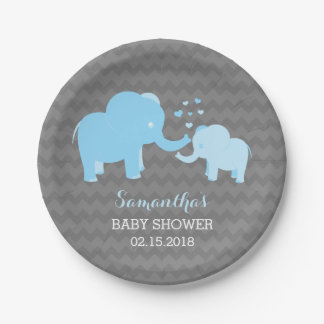 Elephant Baby Shower Blue and Grey Paper Plates