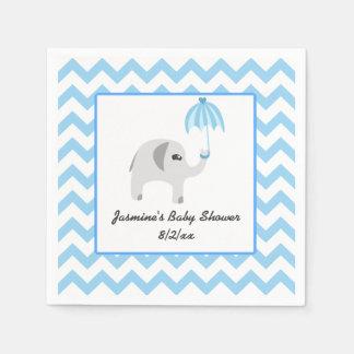 Elephant Baby Shower Blue Umbrella Paper Napkin