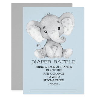 Elephant Baby Shower Diaper Raffle Ticket Card