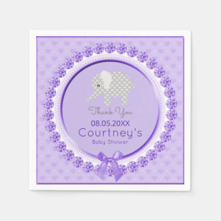 Elephant Baby Shower Elegant Purple Gray Thank You Paper Napkins