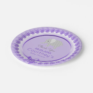 Elephant Baby Shower Elegant Purple Gray Thank You Paper Plate