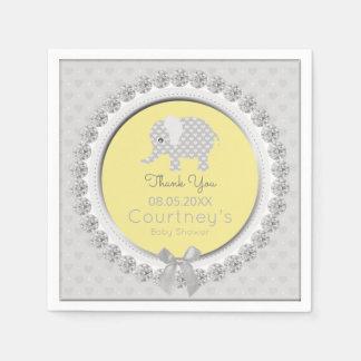 Elephant Baby Shower Elegant Yellow Gray Thank You Paper Napkins