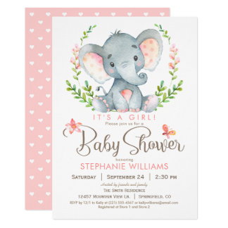Elephant Baby Shower, Girl Card