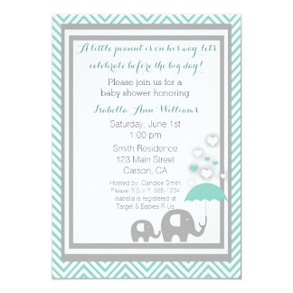 Elephant Baby Shower Invitation- Blue and Gray 13 Cm X 18 Cm Invitation Card